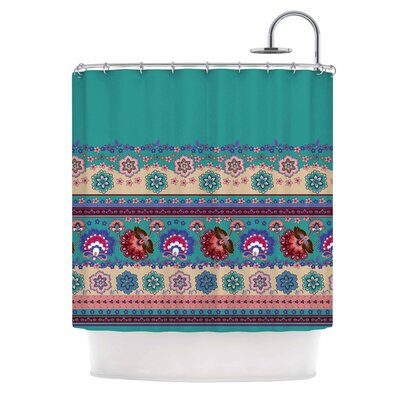 Folkloric Flowers Border Shower Curtain
