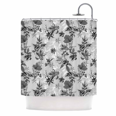 Engraving Flowers Shower Curtain
