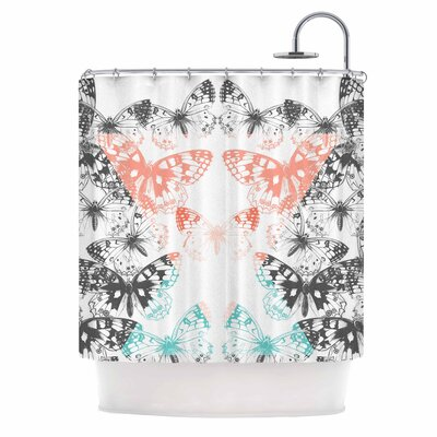 Geo Butterflies Illustration Shower Curtain