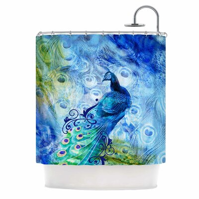 Blue Peacock Digital Shower Curtain