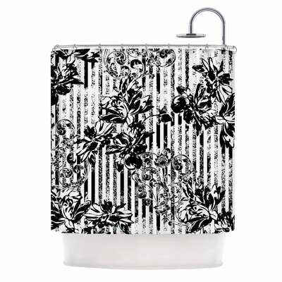 Stripes and Flowers Digital Shower Curtain