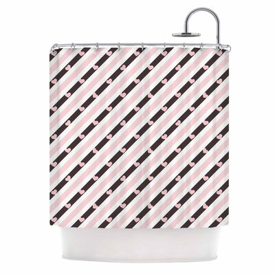 Pastel Stripe Heart Love Shower Curtain
