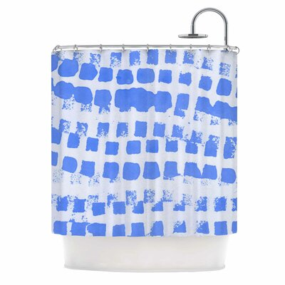 Azure Blue Squares Illustration Shower Curtain