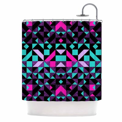 Geometric Digital Shower Curtain Color: Magenta