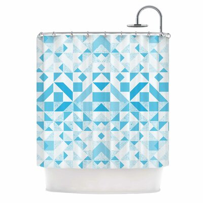 Geometric Digital Shower Curtain Color: Blue