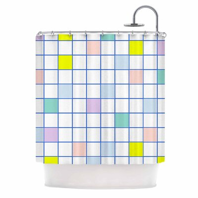 Pastel Windowpane Grid Shower Curtain