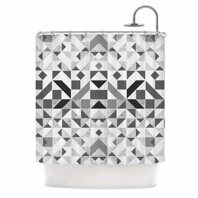 Geometric Digital Shower Curtain Color: Gray