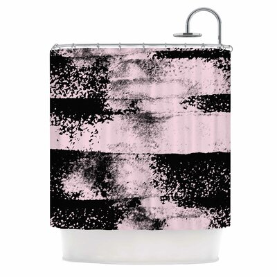 Pink Black Abstract Painting Shower Curtain