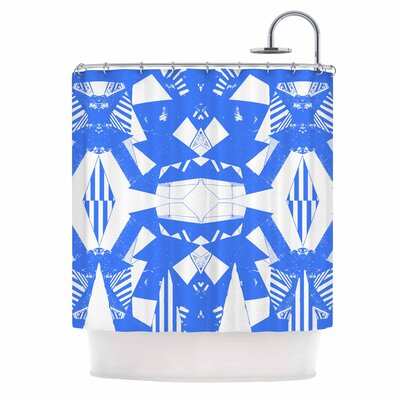 Azure Geometric Art Deco Shower Curtain