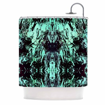 Abstract Aqua Black Mixed Media Shower Curtain