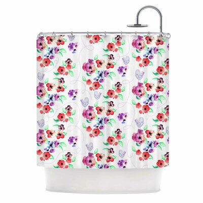 Spring Flowers and Birds Shower Curtain Color: White/Red
