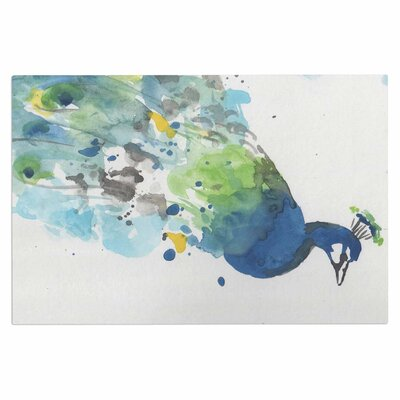 Abstract Watercolor Peacock Doormat