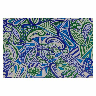 Blue Green Zentangle Doormat