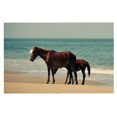 Sandy Toes Beach Horses Decorative Doormat