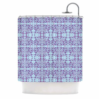 Blue Purple Bloom Mixed Media Shower Curtain