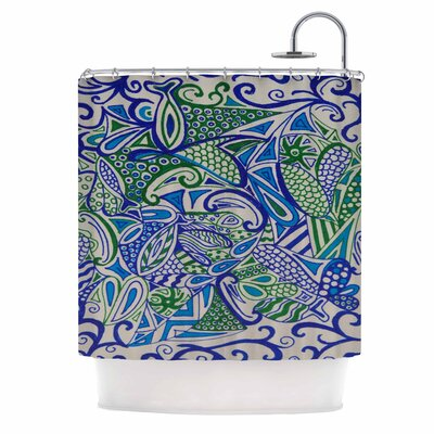 Blue Green Zentangle Shower Curtain