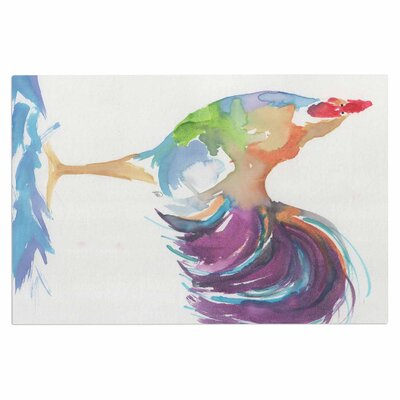 Watercolor Rooster Bird Decorative Doormat
