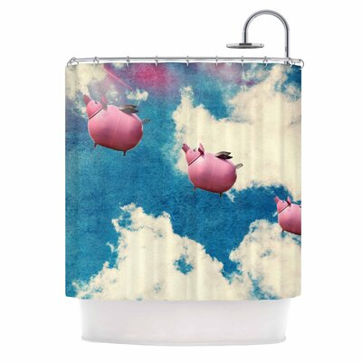 When Pigs Fly Digital Shower Curtain