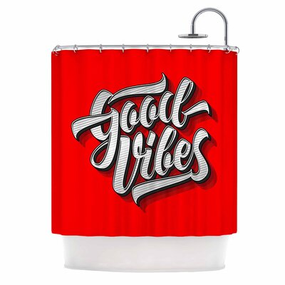Good Vibes 2016 Typography Shower Curtain