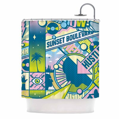 Sunset Boulevard Digital Shower Curtain