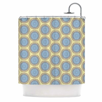 Blue Gold Brocade Shower Curtain