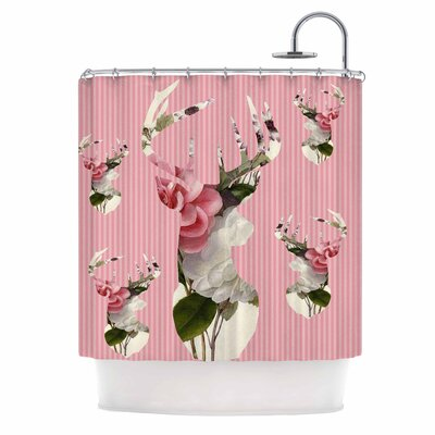 Floral Deer Shower Curtain