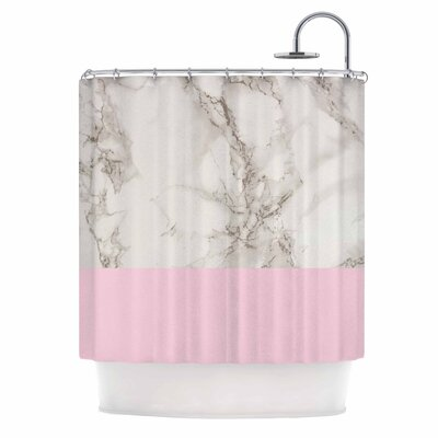 Marble and Block Shower Curtain Color: Pink