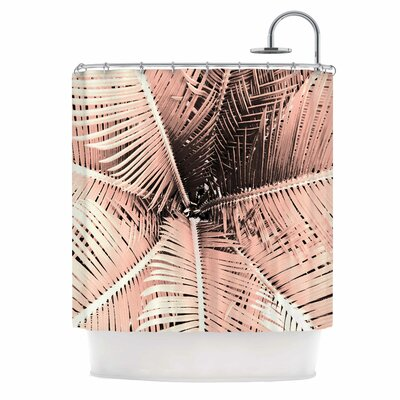 Palm Shower Curtain Color: Pink/Black