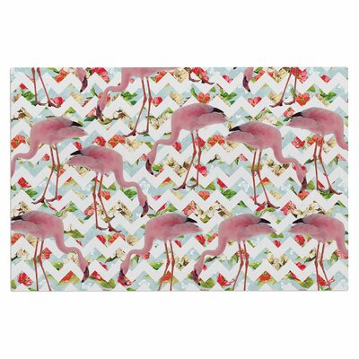 Flamingo Chevron & Roses Doormat
