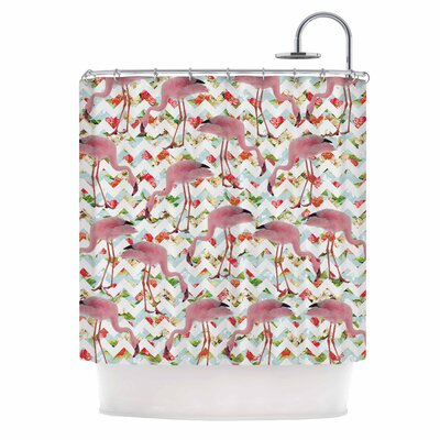 Flamingo Chevron & Roses Digital Shower Curtain