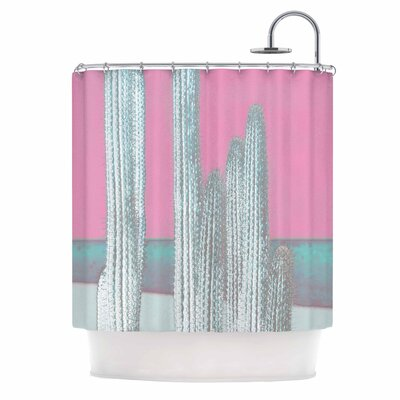 Cactus Digital Shower Curtain Color: Pink