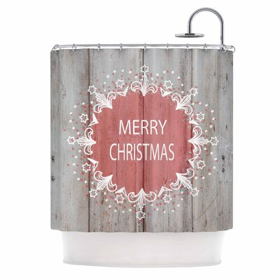 Merry Christmas Pink Typography Shower Curtain