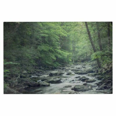 Misty Forest Stream Nature Photography Decorative Doormat