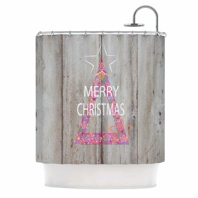 Merry Christmas Tree Mixed Media Shower Curtain