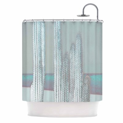 Cactus Digital Shower Curtain Color: Blue/Gray