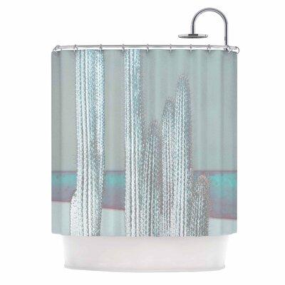 Cactus Digital Shower Curtain Color: Blue/Gray