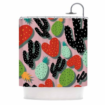 Cactus and Pineapples Digital Shower Curtain
