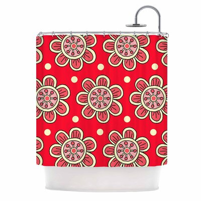 Scarlet Flowers Shower Curtain