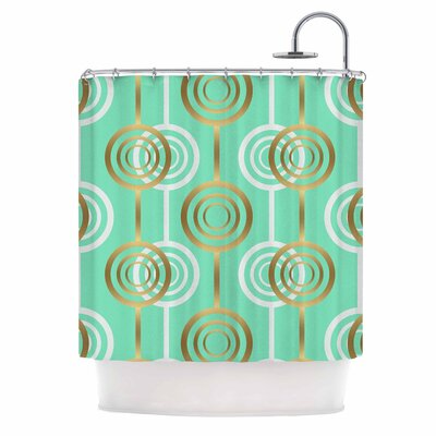 Golden Circles Digital Shower Curtain