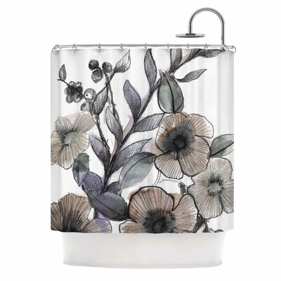 Gray Bouquet Illustration Shower Curtain