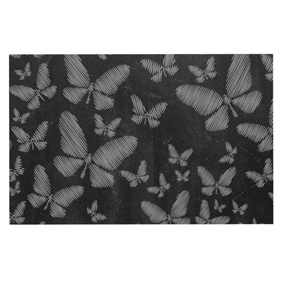 Butterflies Chalk Decorative Doormat Color: White/Black