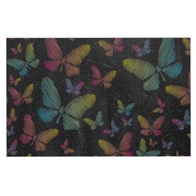 Butterflies Chalk Decorative Doormat Color: Black/Pink/Aqua