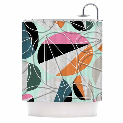 Stones on Mint Digital Shower Curtain