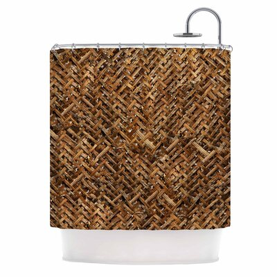 Bamboo Weave Photography Shower Curtain Color: Brown/Tan