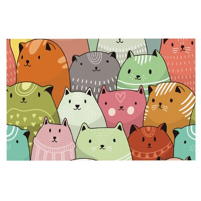 Kitty Attack Cat Illustration Decorative Doormat