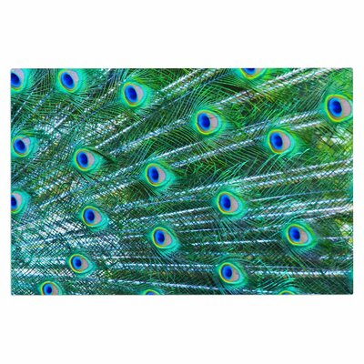 Teal Blue Peacock Feathers Photography Decorative Doormat