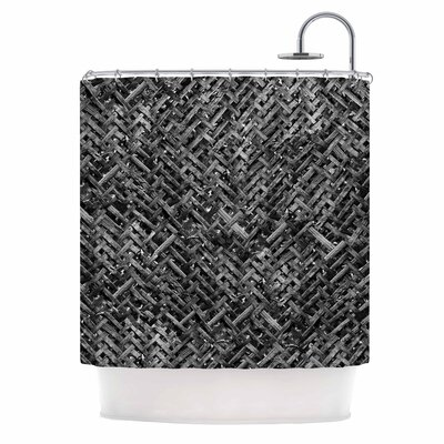Bamboo Weave Photography Shower Curtain Color: Gray/Black
