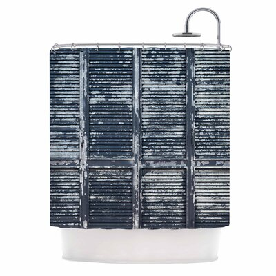Rustic Blue Shutters Nautical Shower Curtain