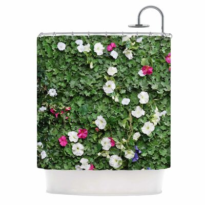 Green Flower Vine Wall Nature Shower Curtain