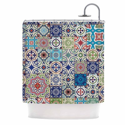 Eclectic Boho Colorful Tile Photography Shower Curtain